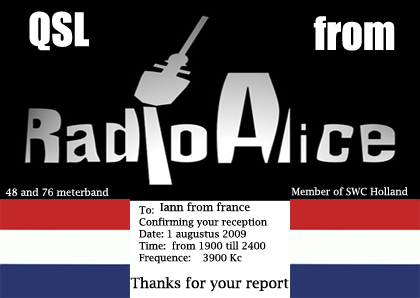 Pirate Radio QSL card - Radio Alice