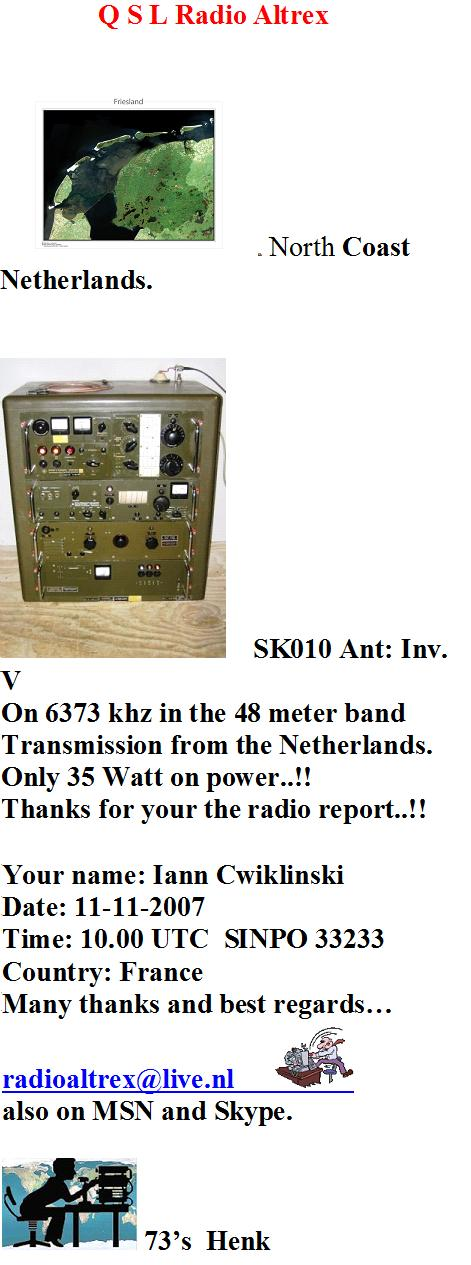 Pirate Radio QSL card - Radio Altrex