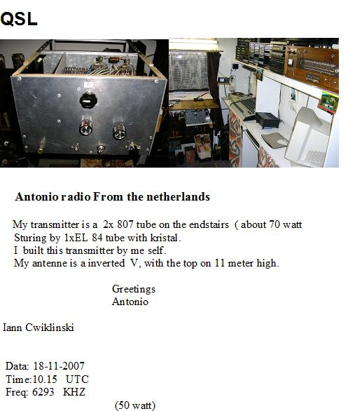 Pirate Radio QSL card - Antonio Radio