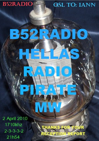 Pirate Radio QSL card - B52 Radio