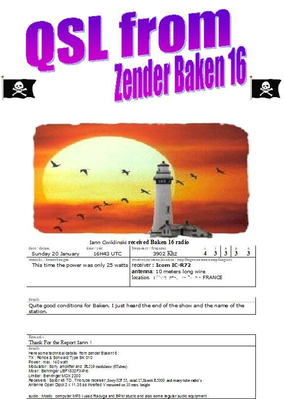 Pirate Radio QSL card - Baken Radio