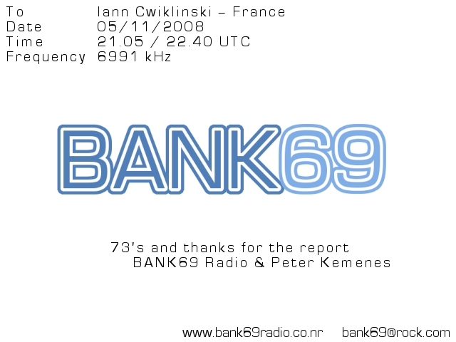 Pirate Radio QSL card - Bank 69