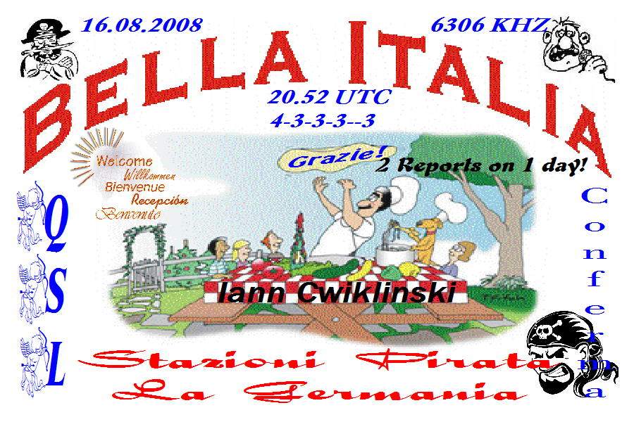 Pirate Radio QSL card - Radio Bella Italia
