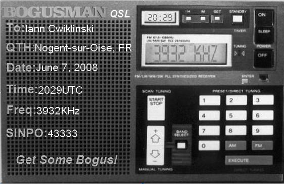 Pirate Radio QSL card - Bogus Man
