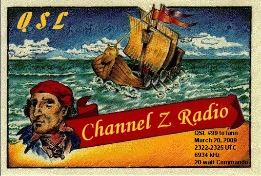 Pirate Radio QSL card - Radio Channel Z