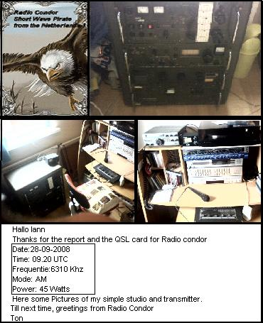 Pirate Radio QSL card - Radio Condor