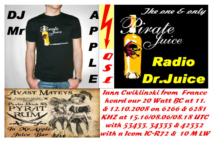 Pirate Radio QSL card - Radio Dr Juice