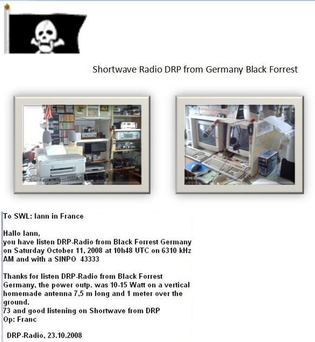 Pirate Radio QSL card - DRP Radio