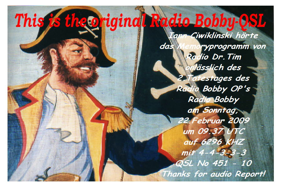 Pirate Radio QSL card - Radio Dr Tim - Radio Bobby