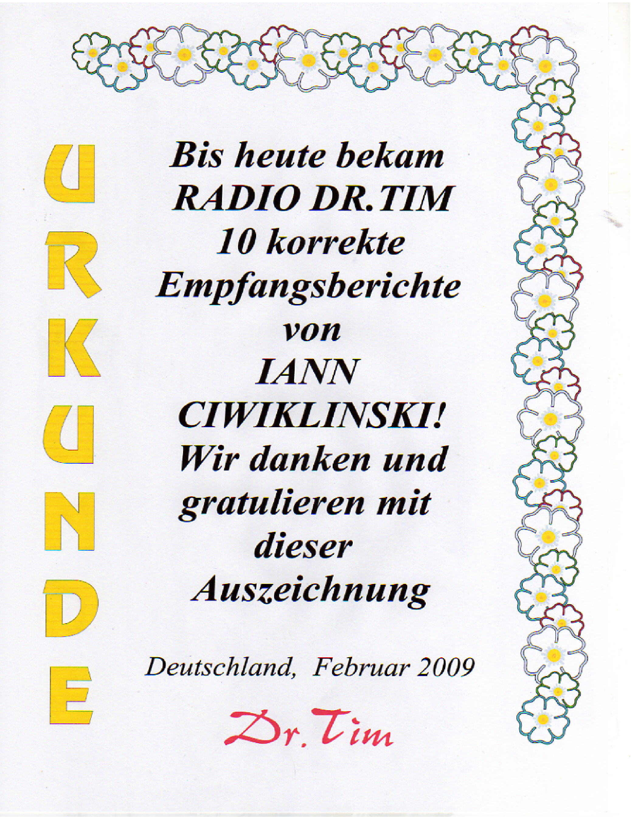 Pirate Radio QSL card - Radio Dr Tim