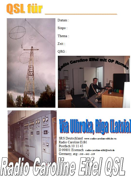 Pirate Radio QSL card - Radio Caroline Eifel