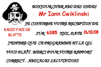 Pirate Radio QSL card - Radio Face de Blatte RFB