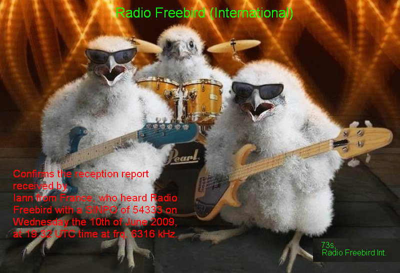 Pirate Radio QSL card - Radio Freebird