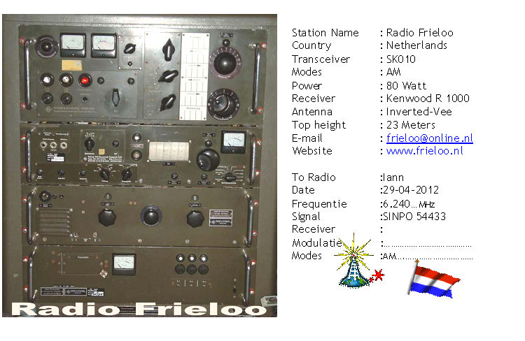 Pirate Radio QSL card - Radio Frieloo