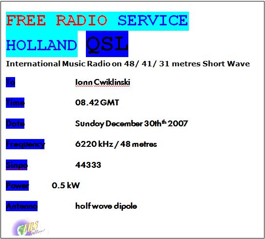 Pirate Radio QSL card - Free Radio Service Holland