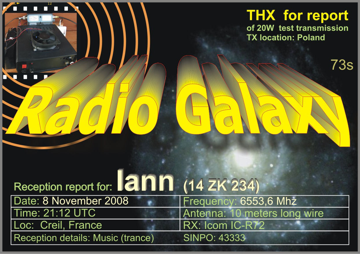 Pirate Radio QSL card - Galaxy Radio