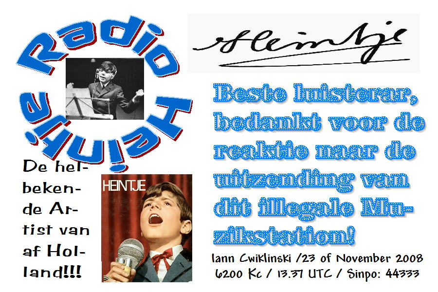 Pirate Radio QSL card - Radio Heintje