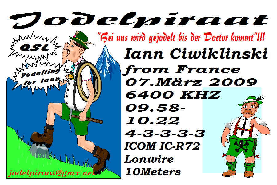 Pirate Radio QSL card - Radio Jodelpiraat