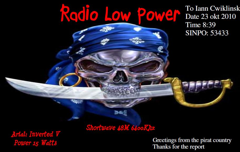 Pirate Radio QSL card - Radio Low Power