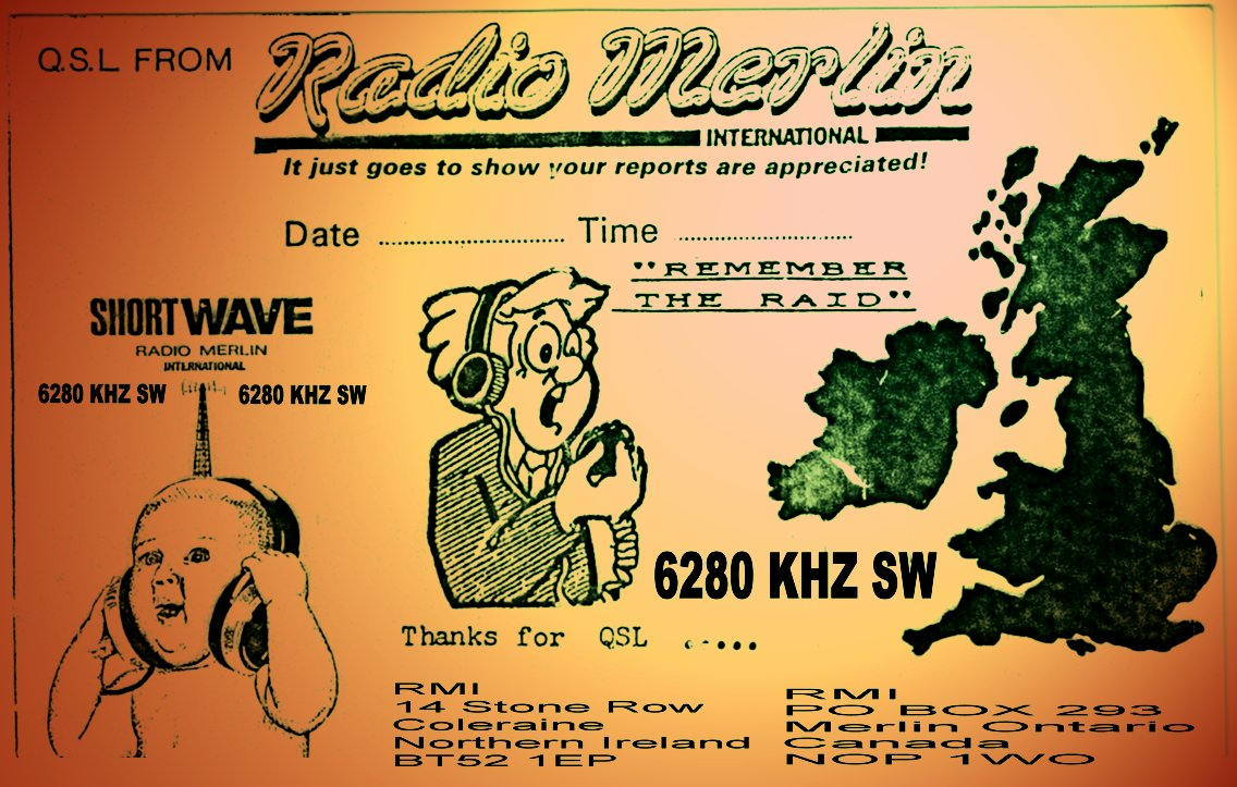 Pirate Radio QSL card - Radio Merlin International RMI