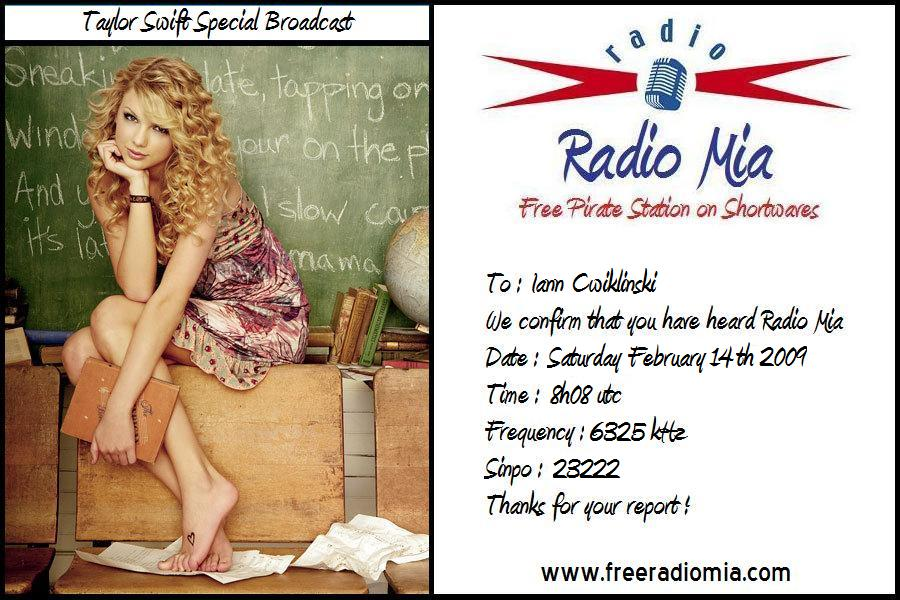 Pirate Radio QSL card - Radio Mia