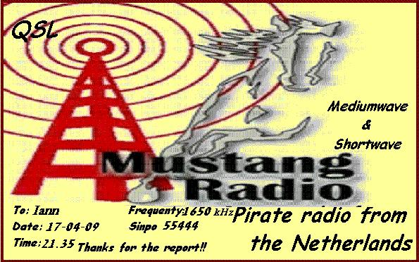 Pirate Radio QSL card - Radio Mustang