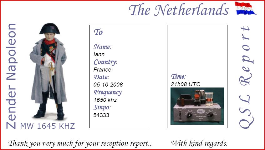 Pirate Radio QSL card - Radio Napoleon