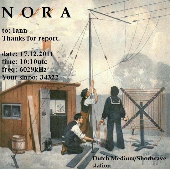 Pirate Radio QSL card - Radio Nora