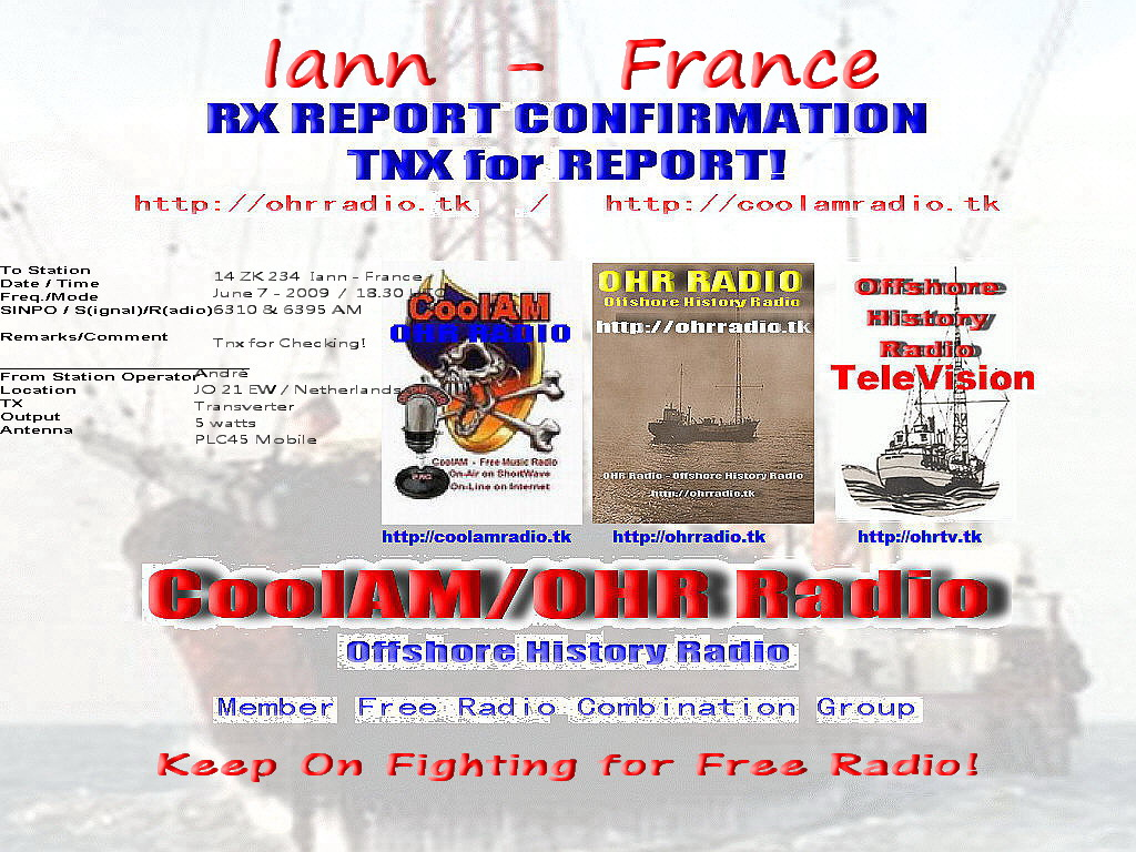 Pirate Radio QSL card - Offshore History Radio