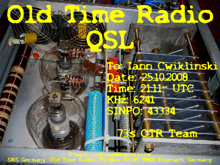 Pirate Radio QSL card - Old Time Radio