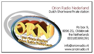 Pirate Radio QSL card - Orion Radio