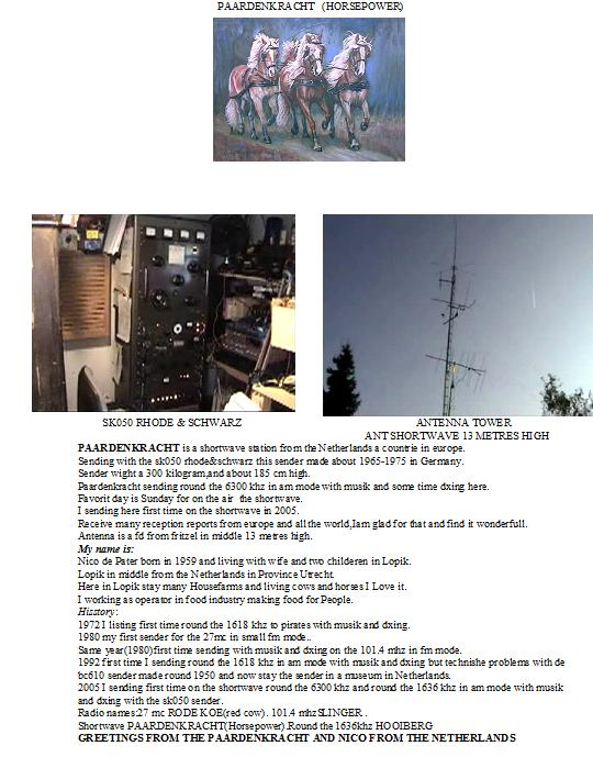 Pirate Radio QSL card - Radio Paardenkracht