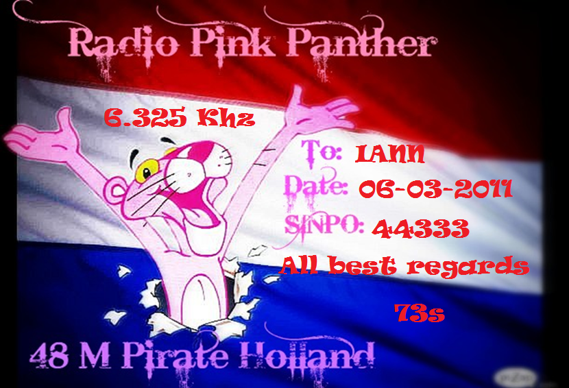 Pirate Radio QSL card - Radio Pink Panther