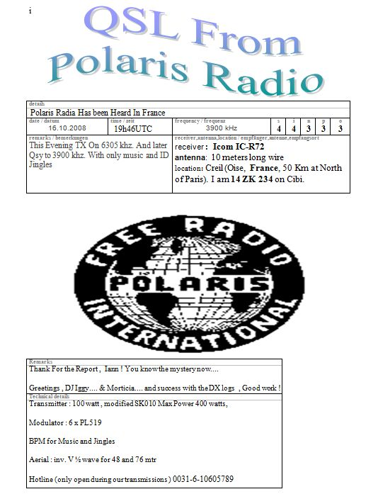 Pirate Radio QSL card - Polaris Radio