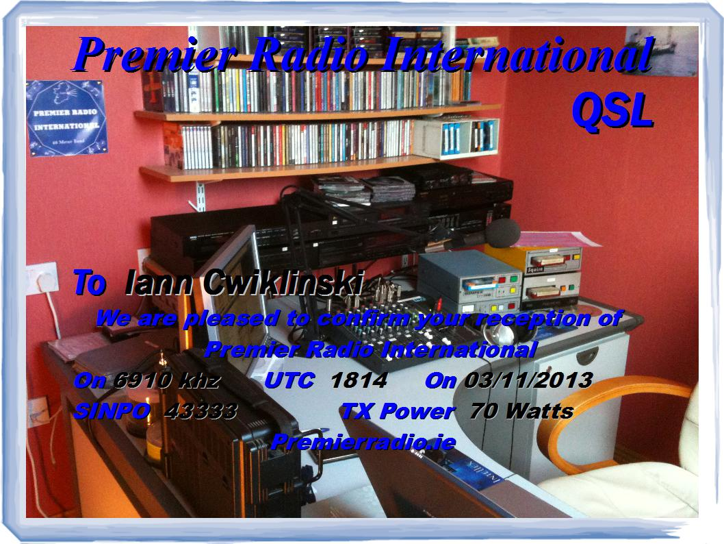 Pirate Radio QSL card - Premier Radio