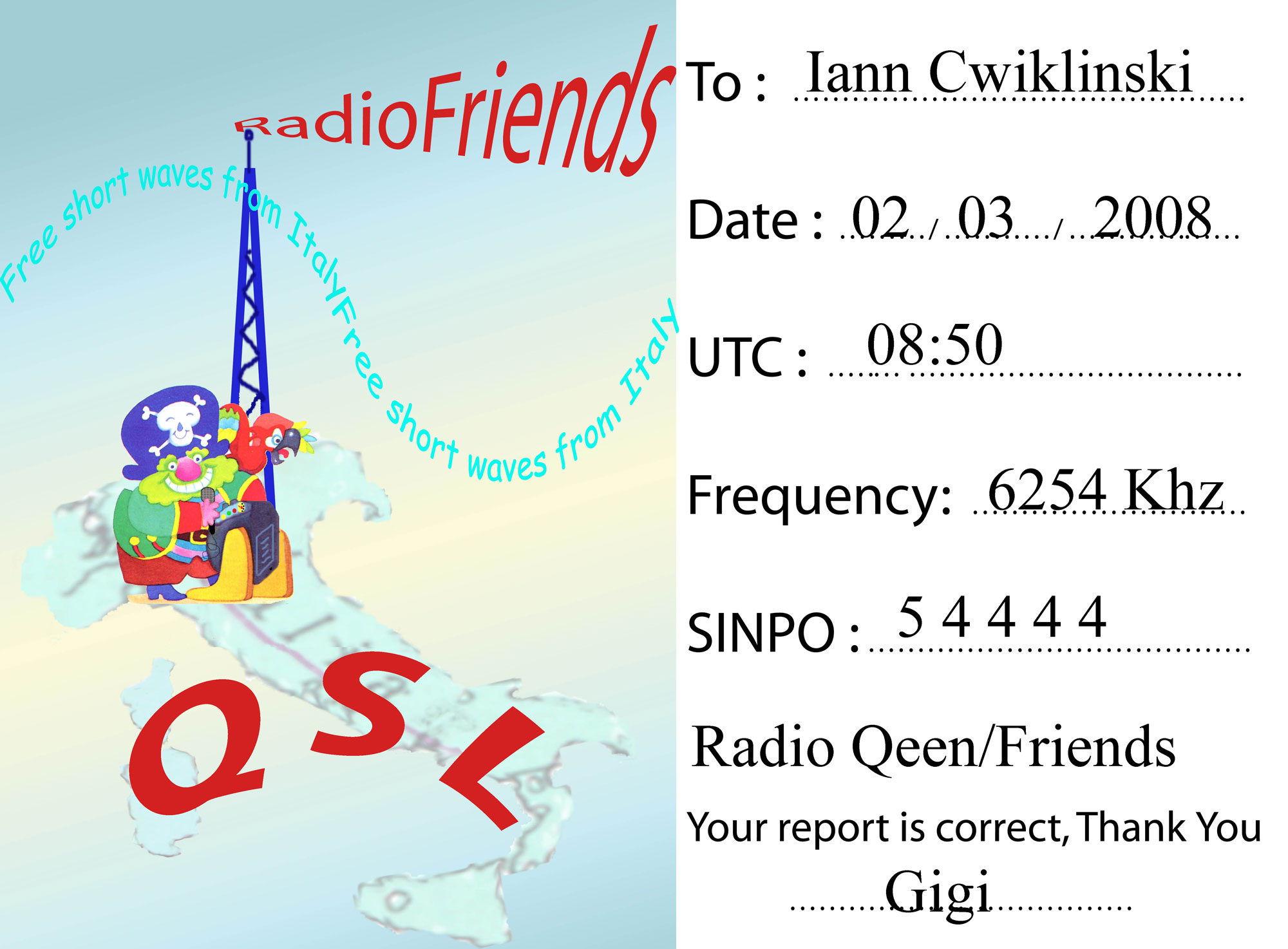 Pirate Radio QSL card - Radio Queen