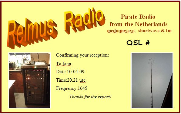 Pirate Radio QSL card - Radio Relmus