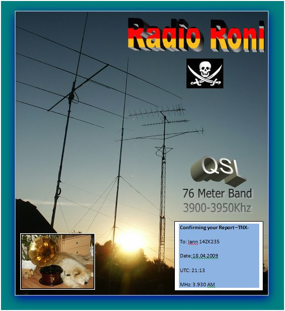 Pirate Radio QSL card - Radio Roni