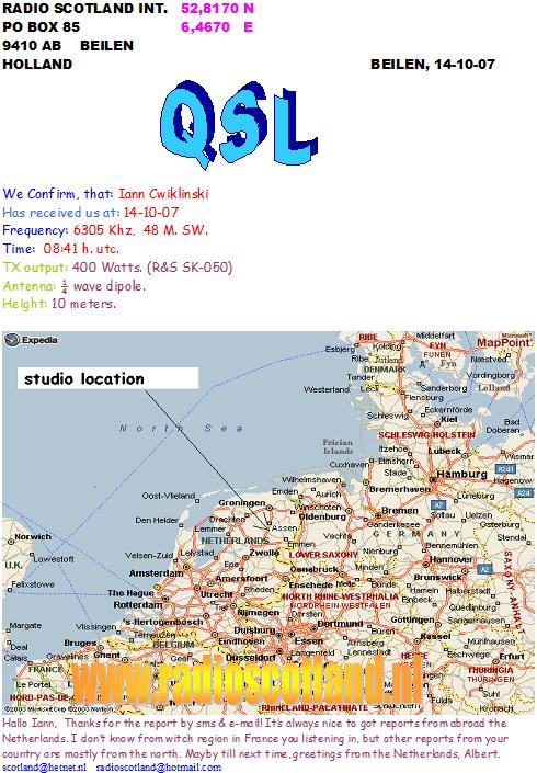 Pirate Radio QSL card - Radio Scotland International RSI