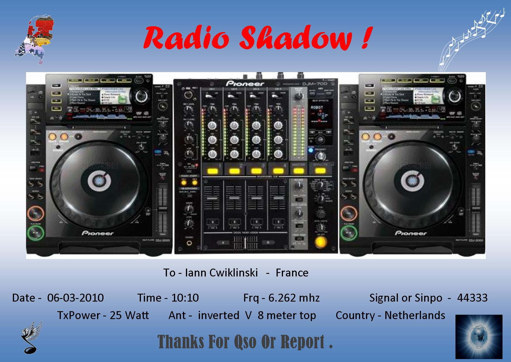 Pirate Radio QSL card - Radio Shadow