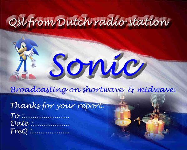 Pirate Radio QSL card - Sonic Radio