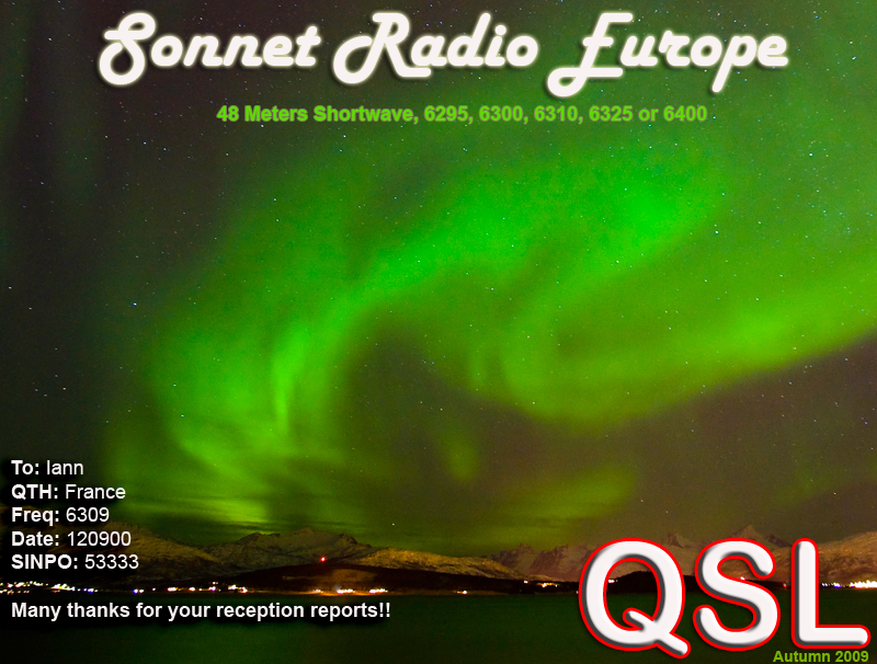 Pirate Radio QSL card - Sonnet Radio