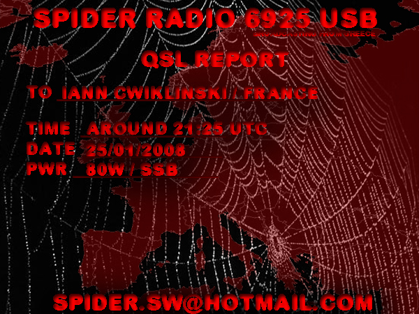 Pirate Radio QSL card - Spider Radio