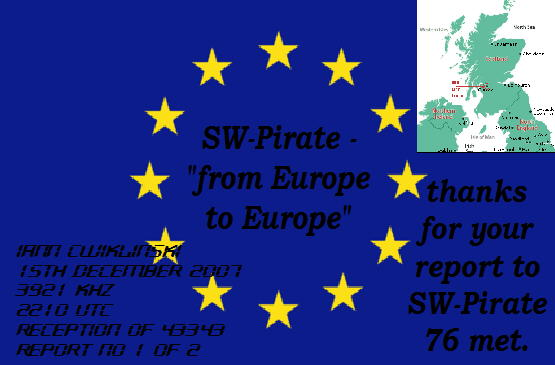 Pirate Radio QSL card - Radio SW Pirate