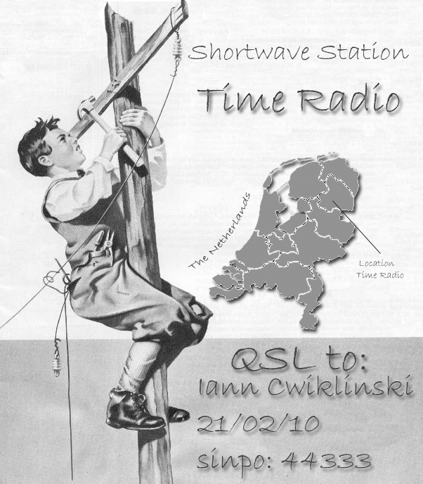 Pirate Radio QSL card - Time Radio