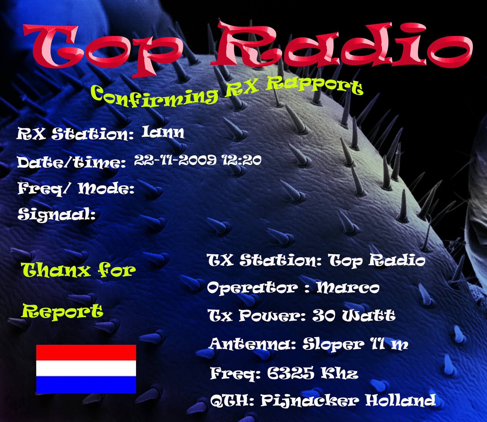 Pirate Radio QSL card - Top Radio
