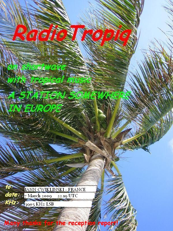 Pirate Radio QSL card - Tropiq Radio