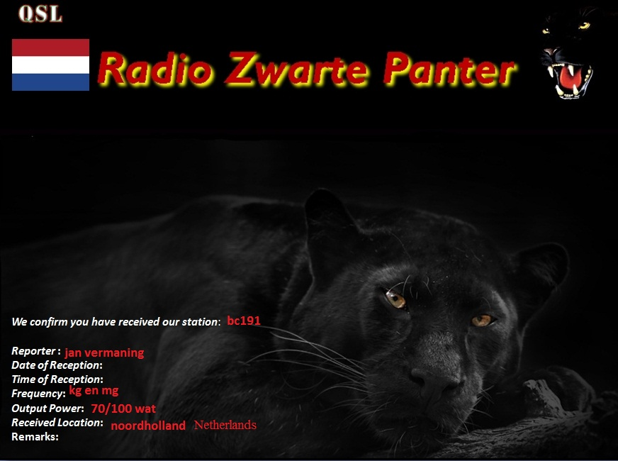 Pirate Radio QSL card - Radio Zwartepanter